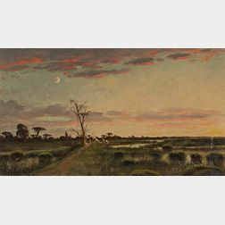 Joseph Rusling Meeker (American, 1827-1889)      Bayou Field with Campsite at Dusk under a Crescent Moon
