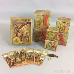 Set of Lithographed Wood ABC Blocks, an American Fire Department Puzzle, and a Miniature Set of Dominos and Dice.