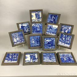 Fourteen Framed Wedgwood Blue Transfer-decorated Ceramic Month Tiles