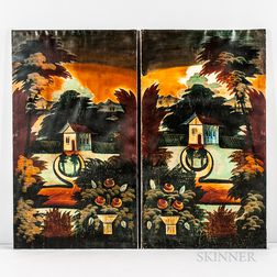 Pair of Folk Art Painted Window Shades