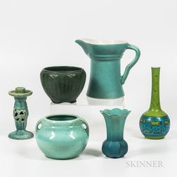 Six Pieces of Glazed Art Pottery