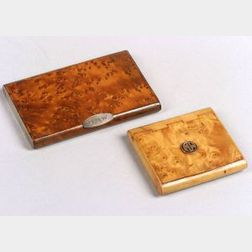 Two Burlwood Cigarette Boxes