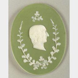Wedgwood Green Jasper Dip Portrait Medallion of Sir Wm. Hooker
