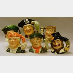 Six Large Royal Doulton Character Jugs