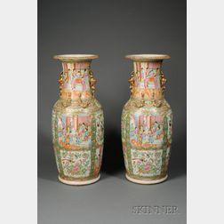 Pair of Rose Medallion Porcelain Floor Vases