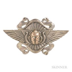 Egyptian Revival Sterling Silver Brooch, George W. Shiebler & Co.