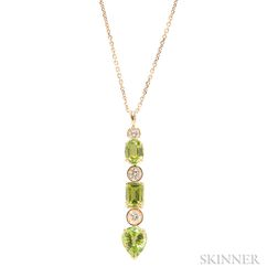 14kt Gold, Peridot, and Diamond Pendant Necklace