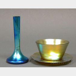 Three Iridescent Glass Items