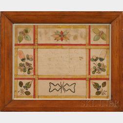 Framed Fraktur Birth Certificate