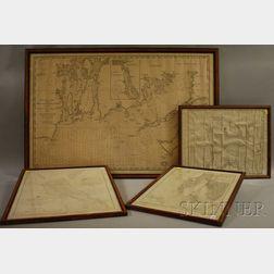 Framed Rhode Island Coastal Map and Three Framed U.S. Coastal Survey Maps of   Rhode Island