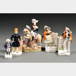 Five Victorian Staffordshire Pottery Figures
