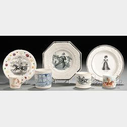 Three Transfer-decorated Plates and Four Mugs