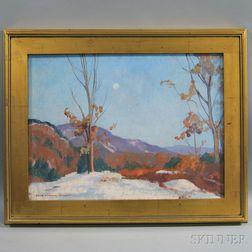 John Newton Howitt (American, 1885-1958)      Moonlit Winter Landscape