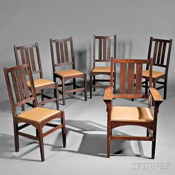 Set of Six Gustav Stickley Dining Chairs