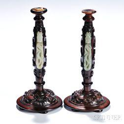 Pair of Jade Belt Buckles on Two Wood Candleholders