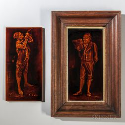 Two Sherwin and Cotton Pottery Portrait Tiles of 19th Century Men