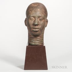 Benin-style Bronze Head of a Warrior