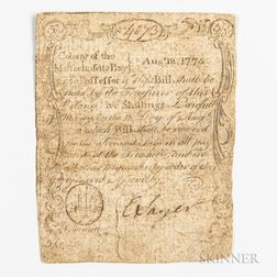 Massachusetts August 18, 1775 5 Shillings, MA-162