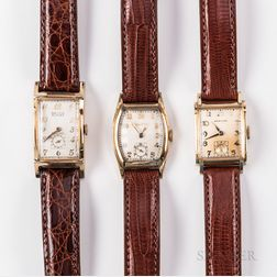 Three 1950s Tank-style Manual-wind Wristwatches