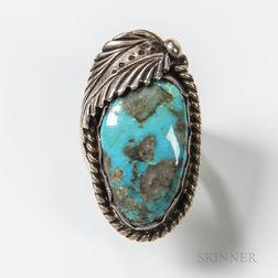 Large Navajo Silver and Turquoise Ring
