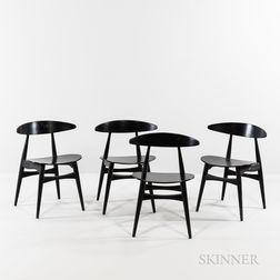 Four Hans J. Wegner (Danish, 1914-2007) for Carl Hansen & Son Model CH33 Dining Chairs