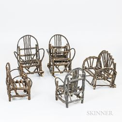 Group of Miniature Adirondack Seating Furniture