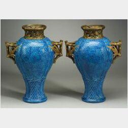 Important Pair of Royal Worcester Porcelain Japonesque Vases