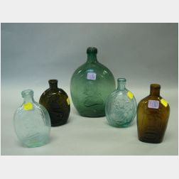 Five Blown Molded Colored Glass Flasks
