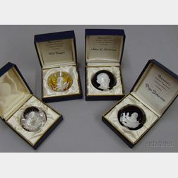 Four Baccarat Sulfide Paperweights