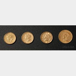 Four United States Gold Dollar Coins