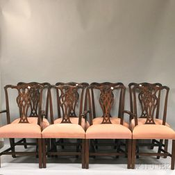 Set of Eight Ethan Allen Chippendale-style Upholstered Carved Beechwood Dining   Chairs