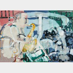 Romare Bearden (American, 1911-1988)      Bopping at Birdland (Stomp Time)