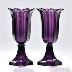 Pair of Amethyst Pressed Glass Tulip Vases