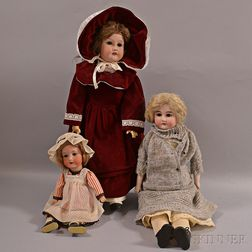 Three German Bisque Shoulder-head Dolls