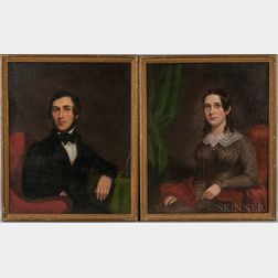 American School, 19th Century       Portraits of a Man and Woman