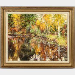 Richard Earl Thompson (American, 1914-1991)      Brilliant Autumn Landscape