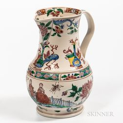 Staffordshire Enamel-decorated Salt-glazed Stoneware Jug