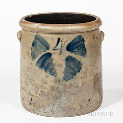 Four-gallon Cobalt-decorated Stoneware Crock