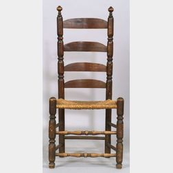 Turned Maple and Ash Slat-back Side Chair