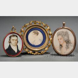 Three Portrait Miniatures on Ivory