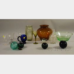 Fourteen Pieces of Assorted Colored and Colorless Blown Glass