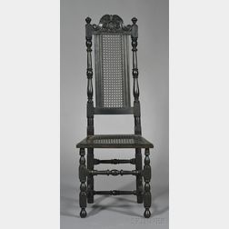 Black-painted Carved Maple Cane-back Side Chair
