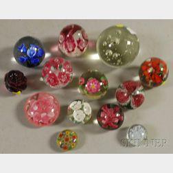 Thirteen Assorted Art Glass Paperweights