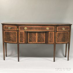 Ethan Allen Federal-style Inlaid Mahogany D-shaped Sideboard