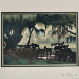 American School, 20th Century      Donkeys in a Landscape