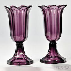 Pair of Light Amethyst Pressed Glass Tulip Vases