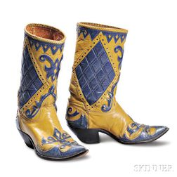 Nudie Cohn     Yellow and Blue Leather Cowboy Boots