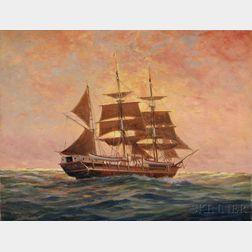 C. Myron Clark (American, 1858-1925)      Sailing Ship at Sunset