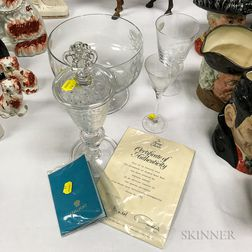 Four Commemorative Etched Colorless Glass Tableware Items