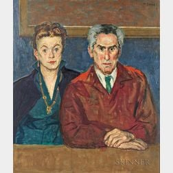 Moses Soyer (American, 1899-1974)      Portrait of Chaim and Renee Gross